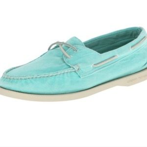 Sperry Top Sider Aqua Canvas Washed Boat Shoes 10